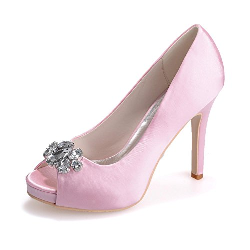 L@YC Women'S Wedding Shoes 6041-02 Peep Toe Silk High Heels/Lace Rhinestone/Large Size Customization Pink DFox4