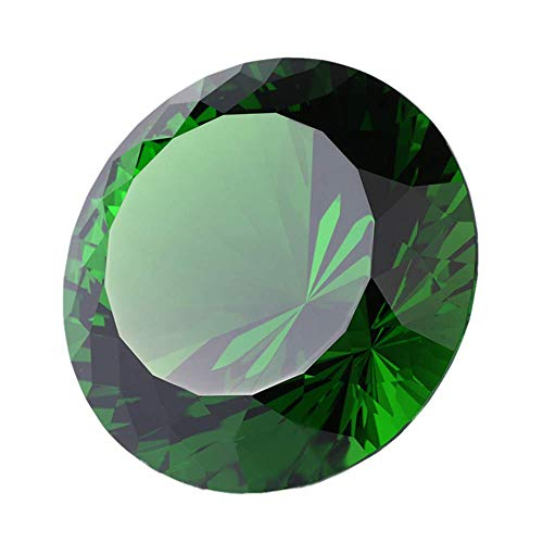 (Green Crystal Glass Diamond Shaped Decoration 80mm Jewel Paperweight,Gift Decoration Idea for Christmas, Thanksgiving)
