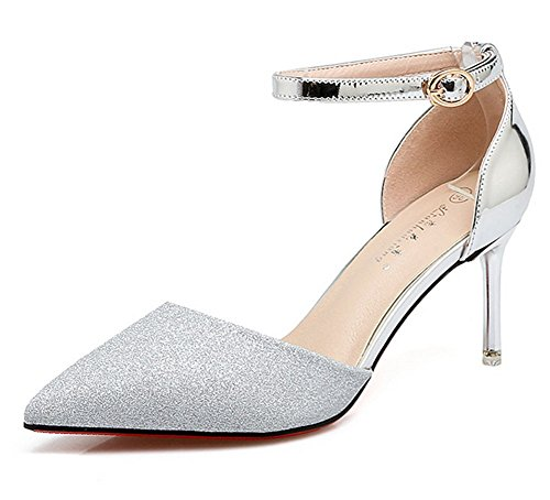 Tacón Meili Silver Zapatos Punta Con Femenina Lentejuelas De Sandalias Alto Banquete EEOrx4qw