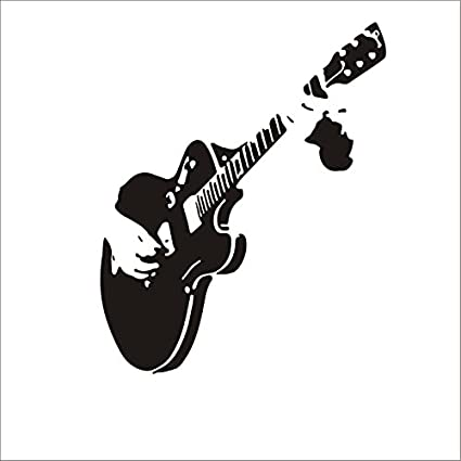 Dosige 1 Piezas Decoración de la Guitarra Dibujo Sala de Estar sofá Dormitorio Fondo Tallado Pegatinas de Pared murales al por Mayor Pegatinas de Pared Decorativas Negro 59 * 55cm