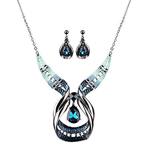 Diamondo Crystal Choker Chunky Statement Pendant Bib Necklace Earring Jewelry Set