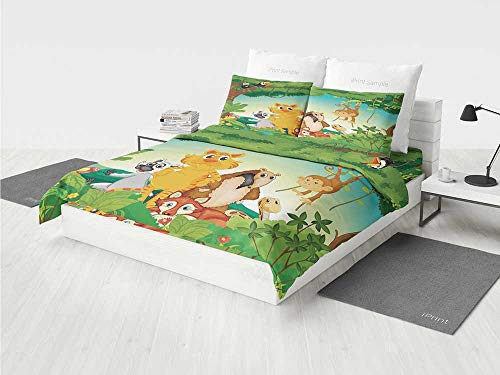 - Zoo Quilt Bedding Set Forest Scene with Different Animals Habitat Jungle Tropical Environment Kids Cartoon Decorative Printing Four Pieces of Bedding Set Multicolor