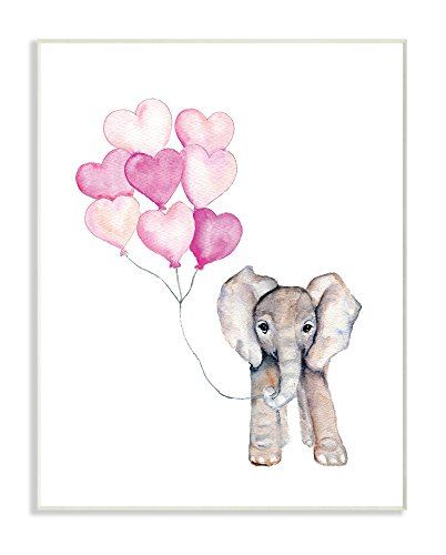 The Kids Room by Stupell Baby Elephant with Pink Heart Balloons Wall Plaque Art, 10 x 15 - Kid Art Elephant