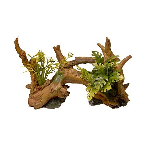 Blue Ribbon EE-639 Exotic Environments Driftwood Centerpiece with Plants Aquarium Ornament