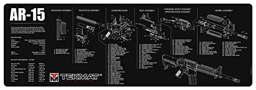 TekMat AR-15 Cleaning Mat/12 x 36 Thick, Durable, Waterproof/Long Gun Cleaning Mat with Parts Diagram and Instructions/Armorers Bench Mat/Black