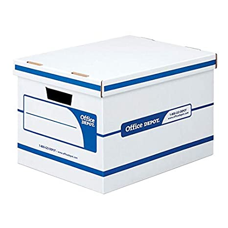 Office Depot 60% Recycled Quick Set-Up Storage Boxes with Lift-Off Lid,  Letter/Legal, 10inH x 12inW x 15inD, White/Blue, pk of 12, 0800303