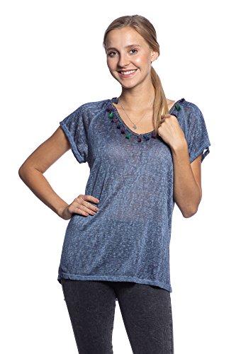 Abbino IG020 Shirt Top Femme - Fabriqu en Italie - Plusieurs Couleurs - Collection Branch Transition L'automne Hiver Confortable Tendresse Plaine lgant Doux Flexible Sexy Fashion Vente Bleu Marine (Art. 1276)