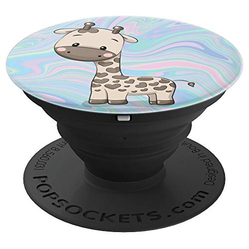 Giraffe Pastel - Cute Stuffed Giraffe On Pastel Unicorn Swirl Background - PopSockets Grip and Stand for Phones and Tablets