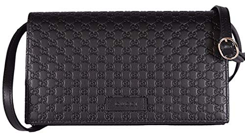 Gucci Women's Leather Micro GG Guccissima Mini Crossbody Wallet Bag Purse (Black) ()