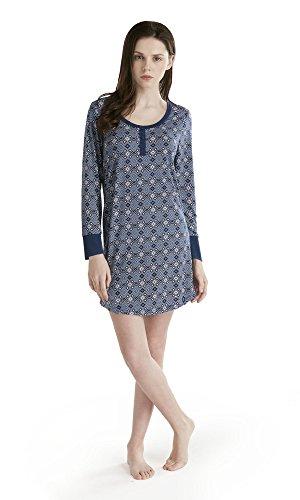 Womens Henley Nightshirt (Ink+Ivy Womens Ladies Henley Neck Long Sleeves Nightshirt Dress Geo Light Grey 2XL)