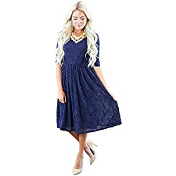 """Emmy"" Modest Dress in Navy Blue Lace"