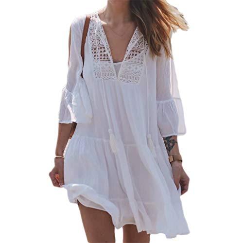 - Ankecity Women Summer Boho Dress Cotton Beach Cover Up Dresses White Crochet Swimsuit Cover Up Beachwear