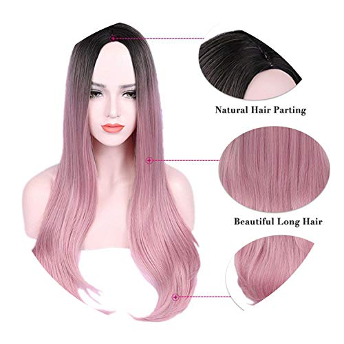 Long Straight Hair Synthetic Wig For Women Ombre