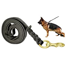 "Fairwin Braided Leather Dog Leash 6 Foot - Best Military Grade Heavy Duty Dog Leash for Large Medium Small Dogs Training and Walking (1/2""x5.6ft, Black)"