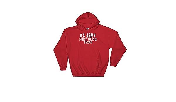 Navy Reaguard Designs U.S Army Fort Bliss Texas Hooded Sweatshirt Black Red