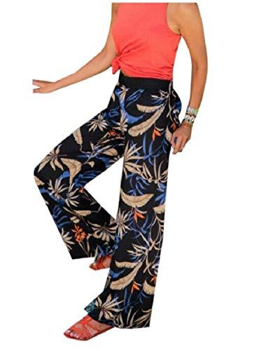 HEFASDM Womens Lounger Lounge Flower Printed High-Waisted Wide Leg Pants Black S