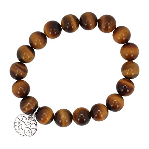 10mm Tiger Eye Bead Stretch Bracelet with Sterling Silver Tree of Life (Sterling Tigers Eye Bead Bracelet)