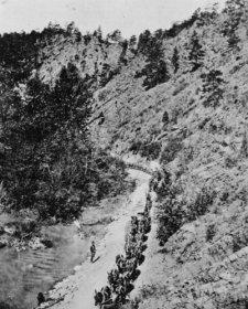 1869 photo Transportation--Hugh Kirkendalls freight mule teams, Prickley Pear b9 ()