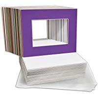 Golden State Art, Pack of 50 Mixed Colors Pre-Cut 8x10 Picture Mat for 5x7 Photo with White Core Bevel Cut Mattes Sets. Includes 50 High Premier Acid Free Mats & 50 Backing Board & 50 Clear Bags