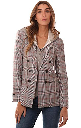 Central Park West Jackets Zip Up Hoodie Insert Plaid Check Blazer - Black/White - M