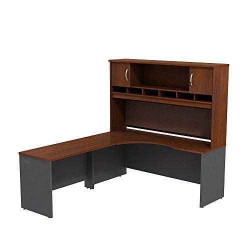 Series C 72W Left Hand Corner L Desk with 72W 2-Door Hutch - 2 Door Cherry Desk
