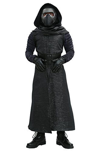 [Adult Kylo Ren Hooded Cloak & Scarf & Gloves Outfit Costume for Halloween Cosplay M] (Scarf Halloween Costumes)