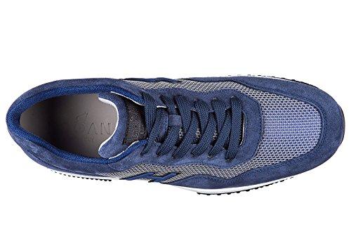 Hogan Mænds Sko Mænd Ruskind Sneakers Sko Interaktiv H Flok Blu 2NIhVKop