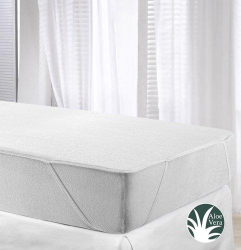 Velfont Wasserdichte und Atmungsaktive Aloe Vera Matratzenschoner Matratzenauflage; 4 Gummibände 100x200 cm