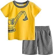 God Sweet 2-Piece Toddler Boys Excavator/Car/Dinosaur T-Shirt and Shorts Set