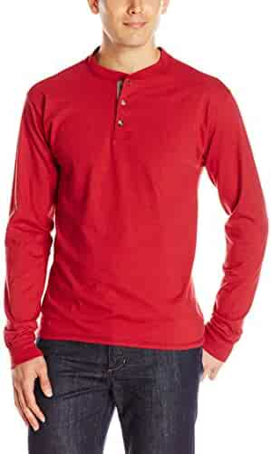 Hanes Men's Long-Sleeve Beefy Henley T-Shirt - Large - Burnt Brick