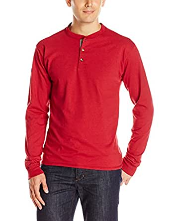 Hanes Men's Long Sleeve Beefy Henley Shirt, Burnt Brick, Small