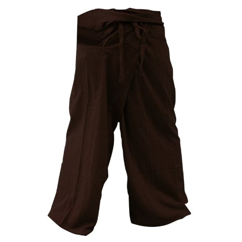 Thai Fisherman Pants Yoga Trousers FREE SIZE Plus Size Cotton Dark Brown Stripe by kittiyashop Thailand