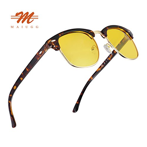 Night Driving Glasses Anti Glare Polarized Sunglasses HD Yellow Lens for Night Safety Glasses (Leopard, - Best Car Driving Sunglasses For