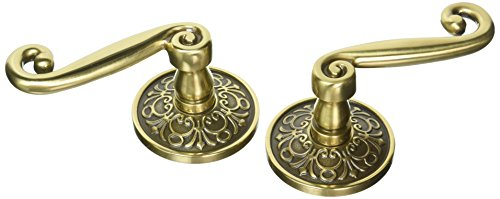 Pair Dummy Set - Lancaster Door Set With Scroll Design Levers Left Hand Double Dummy In Antique Brass. Old Door Knobs.