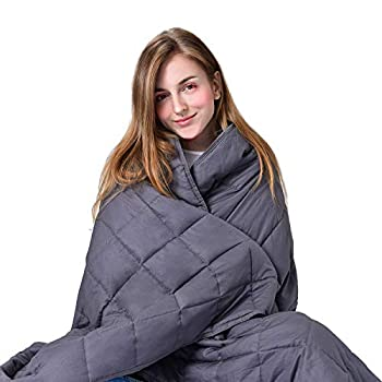 Image of RENPHO Weighted Blanket, Heavy Cool Blanket for Adults, 100% Cotton & Glass Beads(60 x 80 inches,20 lbs) - Grey RENPHO B07KSTWT25 Weighted Blankets
