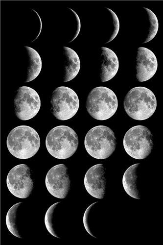 Amazon MOON PHASES GLOSSY POSTER PICTURE PHOTO Full Half Crescent Space Stars Cool Prints Posters