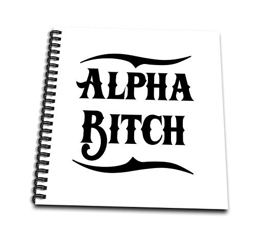 3dRose Russ Billington Designs - Alpha Bitch Design in Black on White - Memory Book 12 x 12 inch (db_294358_2) ()