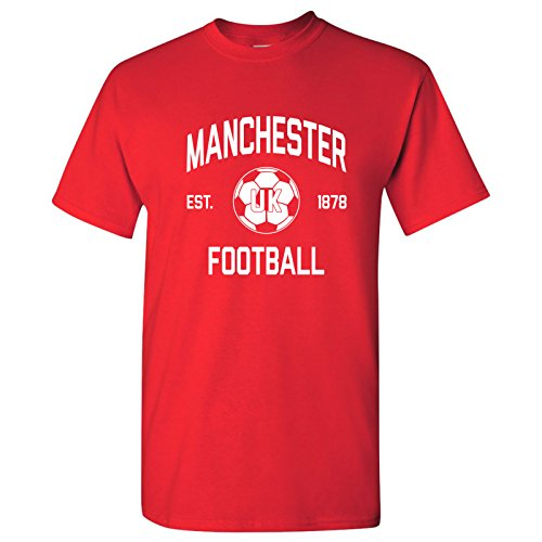 (Manchester UK Home Kit World Classic Soccer Football Arch Cup T Shirt - X-Large - Red)