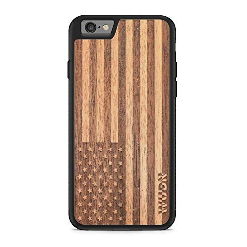 Mahogany Wood Case - Wooden Phone Case (American Flag in Mahogany) Compatible with iPhone 6, iPhone 6/6S