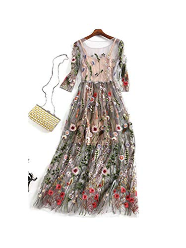 Embroidery Party Dresses Runway Floral Bohemian Flower Embroidered 2 Pieces Vintage Boho Mesh Dresses for Women Apricot ()
