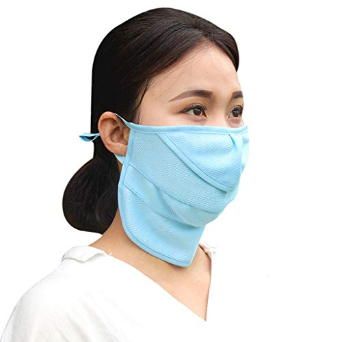 Roisay Dust Mask Unisex Breathable Sunscreen Face Mouth Masks Washable Reusable Air Filter Respirator for Outdoor Riding Protection (Blue)