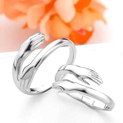 Love Silver Hug Ring-Adjustable Romantic Love Couple Hug Hands Rings,Valentine's Day Ring for Women & Men