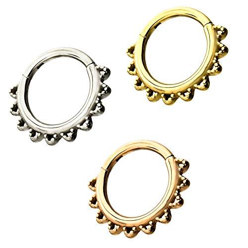 (BYB Jewelry 3PC Lot 16 Gauge Rounded Spike Steel Hinged Segment Ring Hoop Piercings)