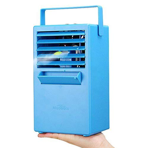 Madoats Mini Space Cooler 9.8-inch Portable Air Conditioner Fan Small Desktop Fan Personal Table Fan Mini Evaporative Air Cooler Cooling Mist Humidifier Spray Fan by Madoats