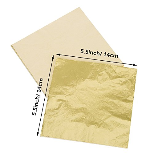 Gilding Crafting 5.5 by 5.5 Inches Rose Gold Kinxor 100 Sheets Imitation Gold Leaf for Arts Furniture Decoration