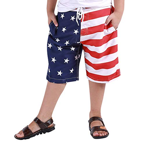 drindf Baby Clothes Independence day Toddler Boy Swim Trunk, July 4th Trunk American Flag Swim Shorts for Kid Swimtrunk 4-6Y White -