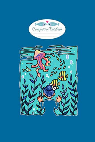 Composition Notebook: aquarium fish jellyfish water cartoon gift - 50 sheets, 100 pages - 6 x 9 inches