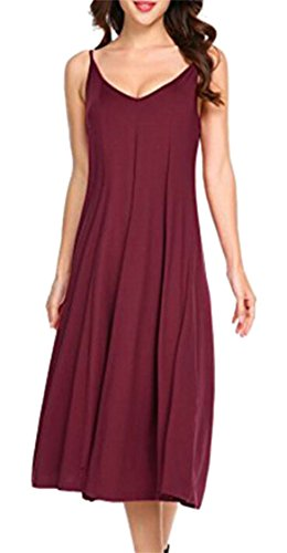 Casual Women Color Solid Dress Spaghetti Jaycargogo Fashion Wine Red Strap Sleeveless Neck V Zg4qz