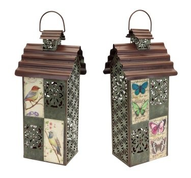 Pack of 2 Filigree Birdhouse 2-Piece Sets of Decorative Lanterns 18