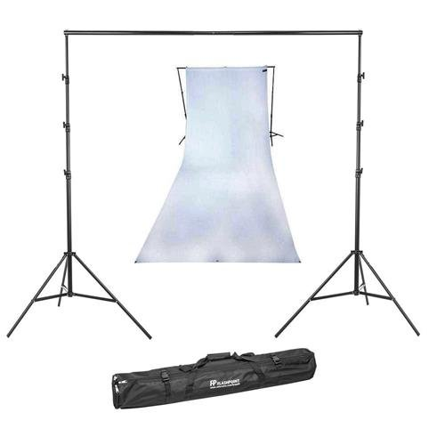 (Westcott 9x20 Feet Wrinkle Resistant Cotton Background, High-Key White - Bundle with Flashpoint 13' Background Support System)